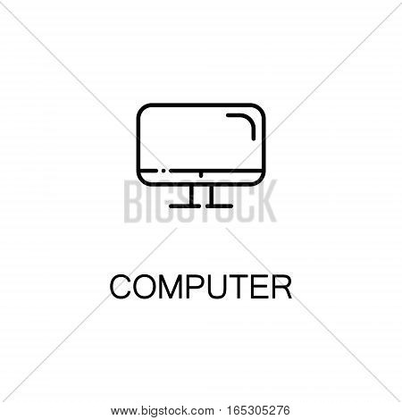 Computer icon. Single high quality outline symbol for web design or mobile app. Thin line sign for design logo. Black outline pictogram on white background