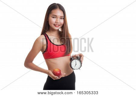 Beautiful Asian Healthy Girl With Clock And Apple.