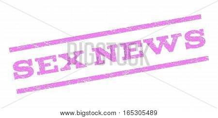 Sex News watermark stamp. Text tag between parallel lines with grunge design style. Rubber seal stamp with scratched texture. Vector violet color ink imprint on a white background.