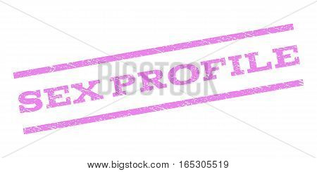Sex Profile watermark stamp. Text caption between parallel lines with grunge design style. Rubber seal stamp with dirty texture. Vector violet color ink imprint on a white background.