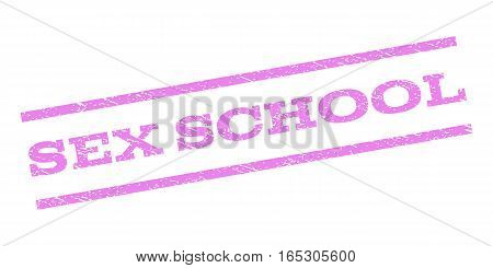 Sex School watermark stamp. Text tag between parallel lines with grunge design style. Rubber seal stamp with dust texture. Vector violet color ink imprint on a white background.