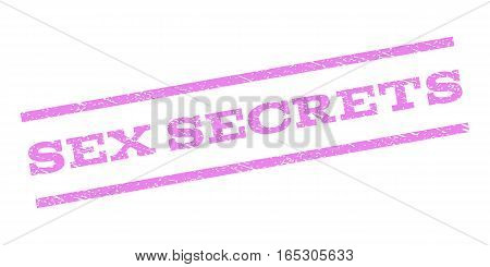 Sex Secrets watermark stamp. Text caption between parallel lines with grunge design style. Rubber seal stamp with scratched texture. Vector violet color ink imprint on a white background.