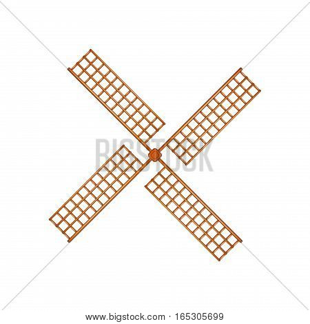 Windmill in wooden design on white background