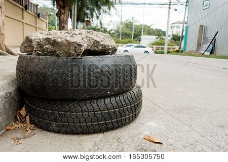 Used tires lying on the local street