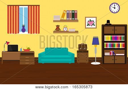 Interior modern and stylish room with a sofa, a wardrobe, a desk with a laptop, shelves of books
