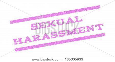 Sexual Harassment watermark stamp. Text caption between parallel lines with grunge design style. Rubber seal stamp with unclean texture. Vector violet color ink imprint on a white background.