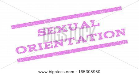 Sexual Orientation watermark stamp. Text tag between parallel lines with grunge design style. Rubber seal stamp with unclean texture. Vector violet color ink imprint on a white background.
