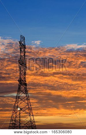 This 's high voltage pole Sunset light