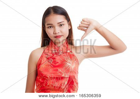 Asian Girl In Chinese Cheongsam Dress Thumbs Down.