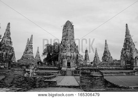 Wat Chai Wat tha na ram in Ayuttaya Thailand