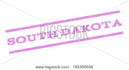 South Dakota watermark stamp. Text caption between parallel lines with grunge design style. Rubber seal stamp with dirty texture. Vector violet color ink imprint on a white background.