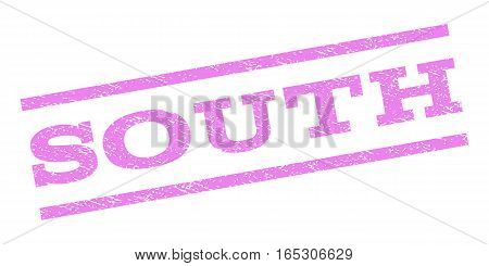 South watermark stamp. Text tag between parallel lines with grunge design style. Rubber seal stamp with dust texture. Vector violet color ink imprint on a white background.