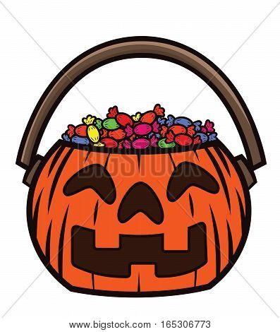 Treat Bucket Full of Sweets Cartoon Illustration