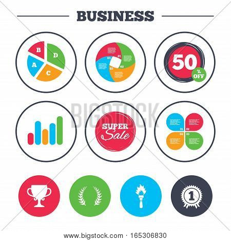 Business pie chart. Growth graph. First place award cup icons. Laurel wreath sign. Torch fire flame symbol. Prize for winner. Super sale and discount buttons. Vector