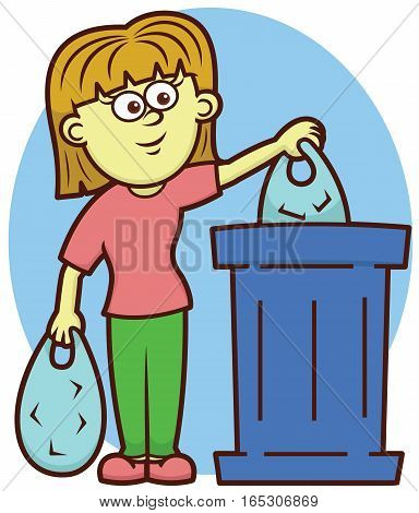 Young Girl Throwing Trash into the Trash Bin Cartoon Illustration