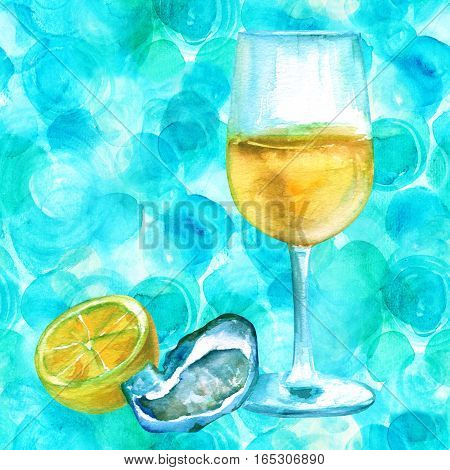 A watercolour drawing of a glass of white wine with an oyster and lemon on a teal blue background with a place for text