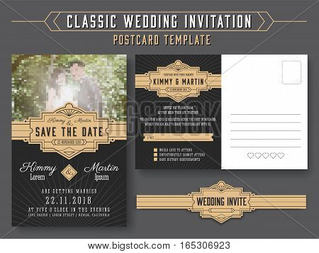 Classic vintage wedding invitation card design suitable for both traditional and modern trend you can replace your wedding couple image. Save the date and RSVP postcard template. Vector illustration