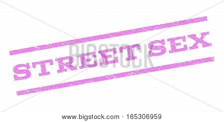 Street Sex watermark stamp. Text caption between parallel lines with grunge design style. Rubber seal stamp with scratched texture. Vector violet color ink imprint on a white background.
