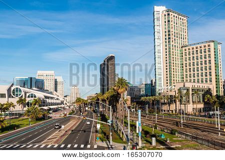 SAN DIEGO, CALIFORNIA - JANUARY 8, 2017:  Convention center and hotels on Harbor Drive near the Gaslamp District and Petco Park.