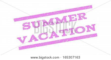 Summer Vacation watermark stamp. Text caption between parallel lines with grunge design style. Rubber seal stamp with dust texture. Vector violet color ink imprint on a white background.