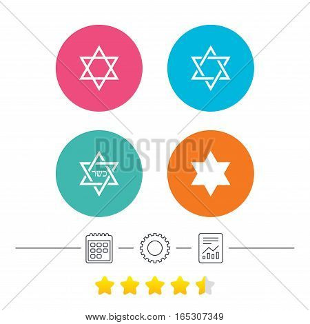 Star of David sign icons. Symbol of Israel. Calendar, cogwheel and report linear icons. Star vote ranking. Vector