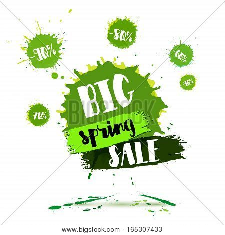 Big Spring SALE poster. Watercolor banner with ink splashes and brush hand lettering for your business. Amazing discounts flyer. Vector illustration