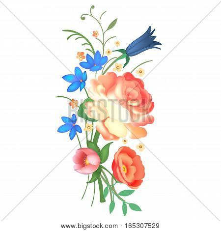 Beautiful bouquet with roses, bluebell and leaves. Flower arrangement. Design for greeting card and invitation of the wedding, birthday, Valentines Day, mother s day and other holiday. Vector illustration