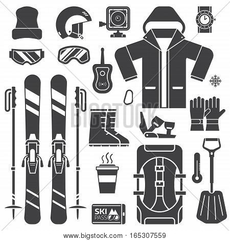 Mountain skiing gear and accessories outline icons collection. Ski jacket, avalanche rescue, snow boots, poles and other winter sport and activity essentials set. Skiing equipment vector elements set.