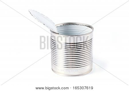 empty galvanized metal tin open with the help of a can opener