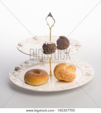 Tray Or Serving Tray With Dessert On Background.