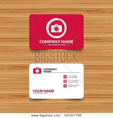 Business card template with texture. Photo camera sign icon. Digital photo camera symbol. Phone, web and location icons. Visiting card  Vector