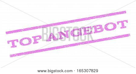 Top Angebot watermark stamp. Text caption between parallel lines with grunge design style. Rubber seal stamp with dirty texture. Vector violet color ink imprint on a white background.