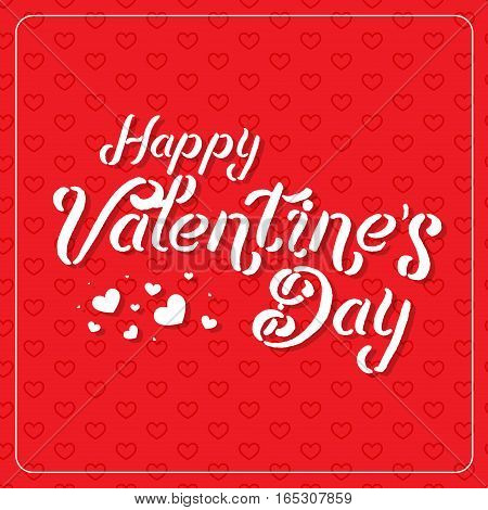 Happy Valentine's Day greeting card. Typography poster on cute red background with lovely hearts. Romantic lettering vector Illustration. 14 February date