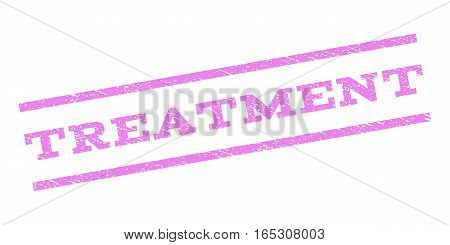 Treatment watermark stamp. Text tag between parallel lines with grunge design style. Rubber seal stamp with unclean texture. Vector violet color ink imprint on a white background.