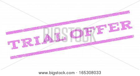 Trial Offer watermark stamp. Text tag between parallel lines with grunge design style. Rubber seal stamp with dust texture. Vector violet color ink imprint on a white background.
