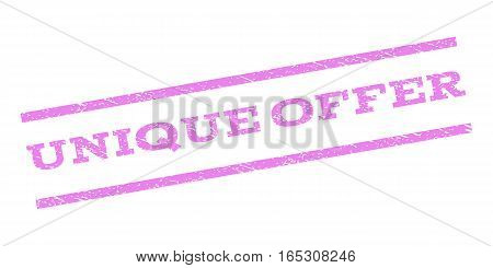 Unique Offer watermark stamp. Text caption between parallel lines with grunge design style. Rubber seal stamp with unclean texture. Vector violet color ink imprint on a white background.