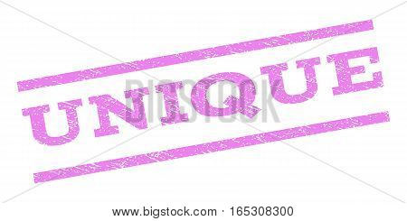 Unique watermark stamp. Text tag between parallel lines with grunge design style. Rubber seal stamp with unclean texture. Vector violet color ink imprint on a white background.