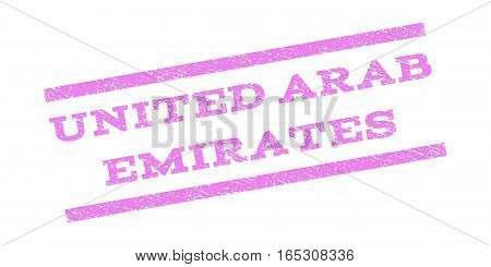 United Arab Emirates watermark stamp. Text tag between parallel lines with grunge design style. Rubber seal stamp with dust texture. Vector violet color ink imprint on a white background.