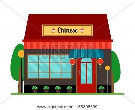 Chinese oriental cafe or restaurant store front. Vector illustration