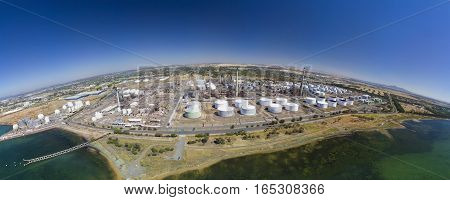 Aerial panoramic view of an oil refinery