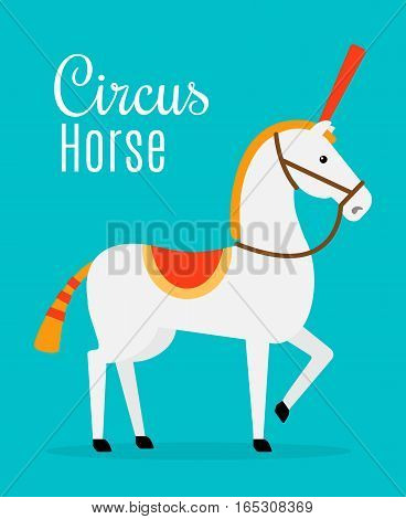 Circus white horse on blue background with inscription. Vector illustration