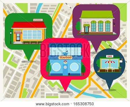 Navigation map with shops pins mobile app. Sea food restaurant, cafe and supermarket store fronts vector illustration
