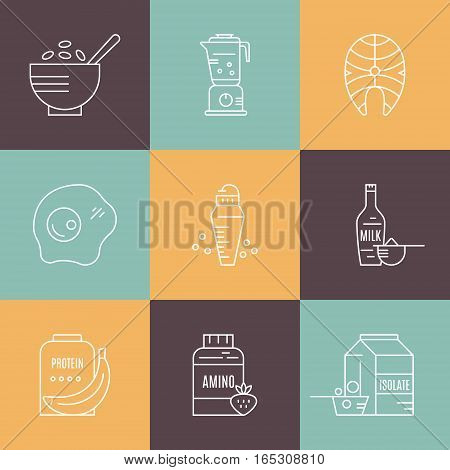 Collection of icons with sport nutrition objects. Healthy food. Gym and workout diet symbols made in vector - protein shake, amino powder.