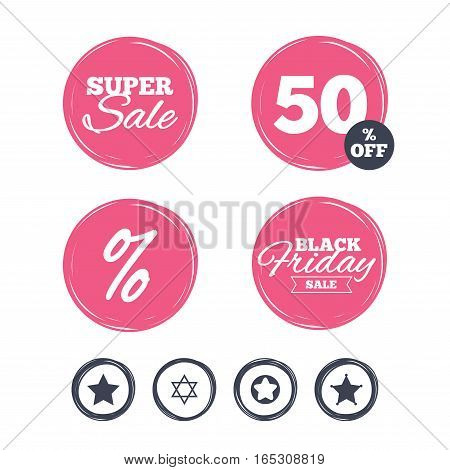 Super sale and black friday stickers. Star of David icons. Sheriff police sign. Symbol of Israel. Shopping labels. Vector