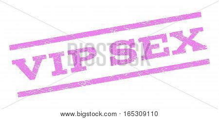 Vip Sex watermark stamp. Text caption between parallel lines with grunge design style. Rubber seal stamp with dirty texture. Vector violet color ink imprint on a white background.