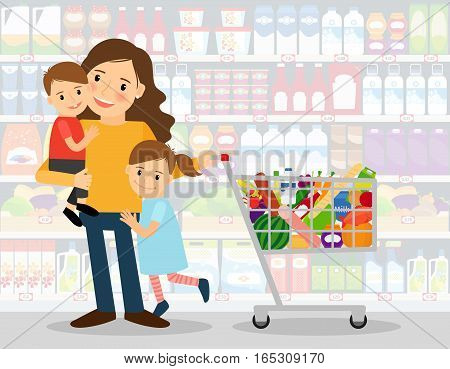 Woman in supermarket with two young kids and shopping cart full of groceries. vector illustration