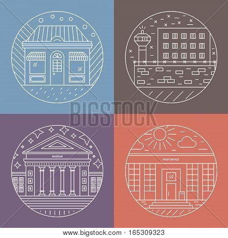 Vector illustration of different govenmental buildings including museum, post office, prison. Trendy line style vector illustration. City architecture concept. Government buildings.