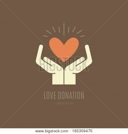 Human hands holding heart. Love, peace and donation concept. Vector illustration for non-profit organization, charity event.