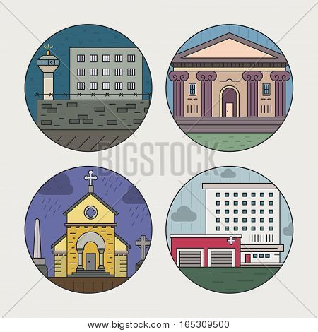 Vector illustration of different govenmental buildings including pridon, museum, hospital. Trendy line style vector illustration. City architecture concept. Government buildings.