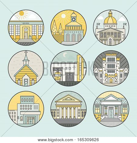 Vector illustration of different govenmental buildings including police station, post office, capitol. Trendy line style vector illustration. City architecture concept. Government buildings.